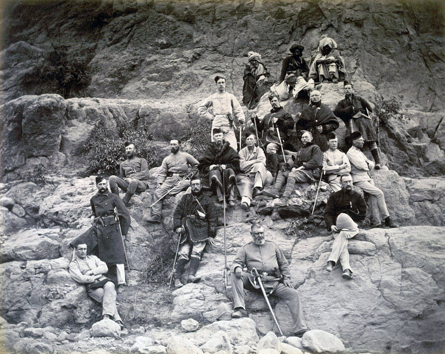 Officers of the 51st King's Own Yorkshire Light Infantry after the Battle of Ali Masjid on 21st November 1878 in the Second Afghan War