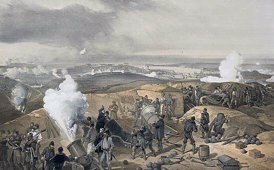 British battery in action: Siege of Sevastopol September 1854 to September 1855