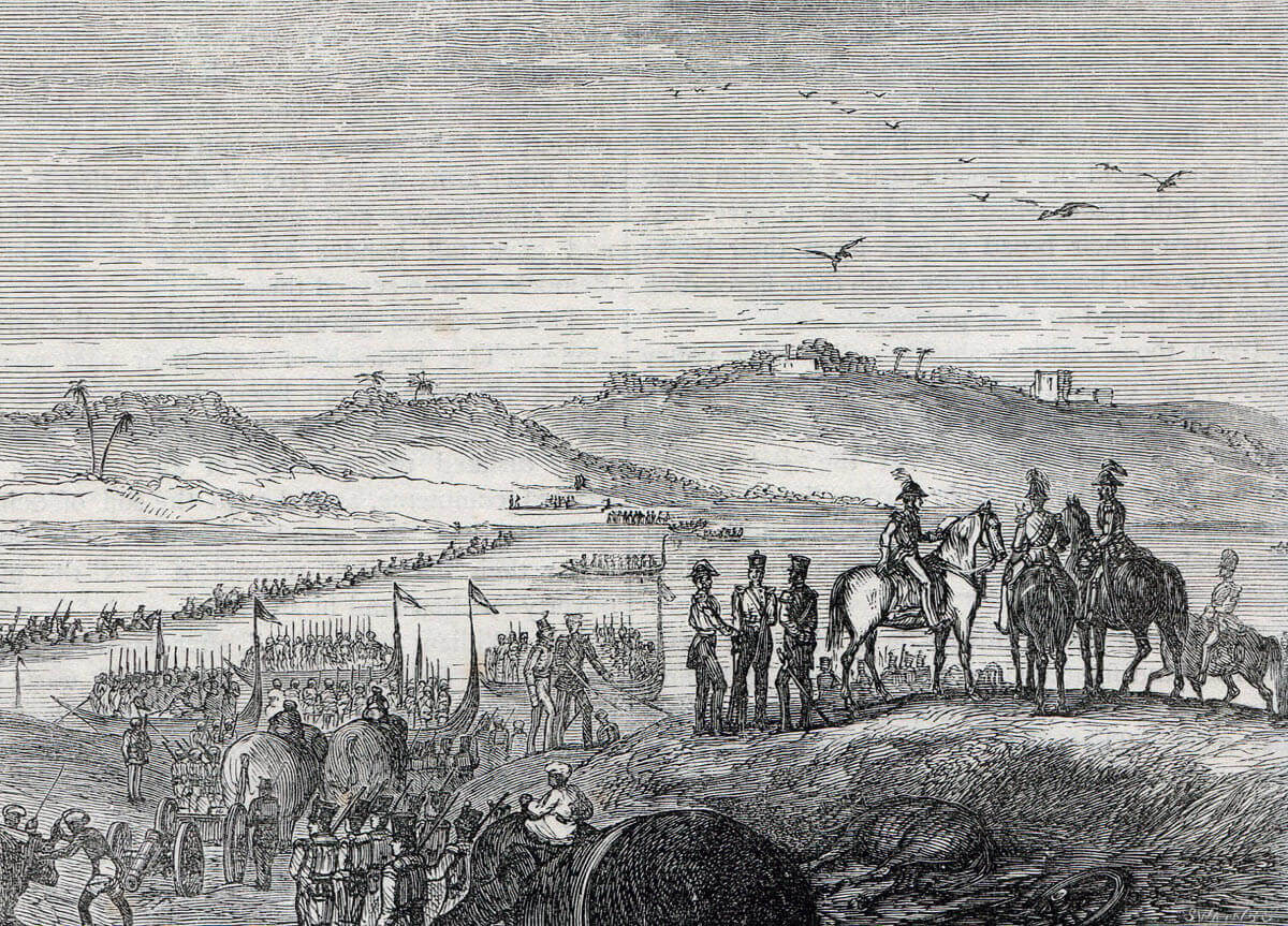 The Anglo-Indian army crossing the Sutlej River after the Battle of Sobraon on 10th February 1846 during the First Sikh War