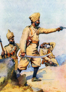 Punjabi infantry: Battle of Charasiab on 9th October 1879 in the Second Afghan War: picture by A.C. Lovett