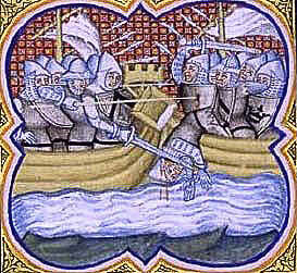 Battle of Sluys on 24th June 1340 in the Hundred Years War from a contemporary chronicle