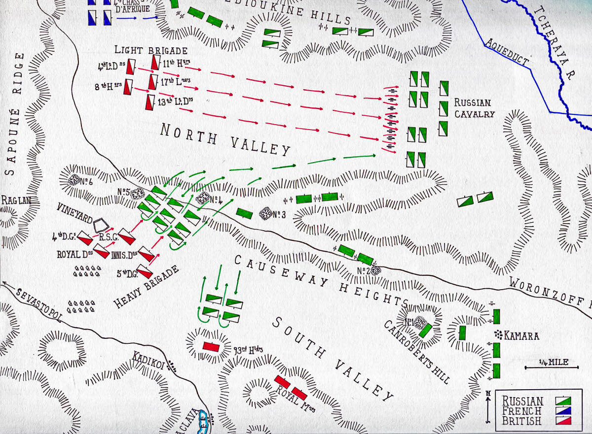 Map of the Battle of Balaclava on 25th October 1854 in the Crimean War: map by John Fawkes