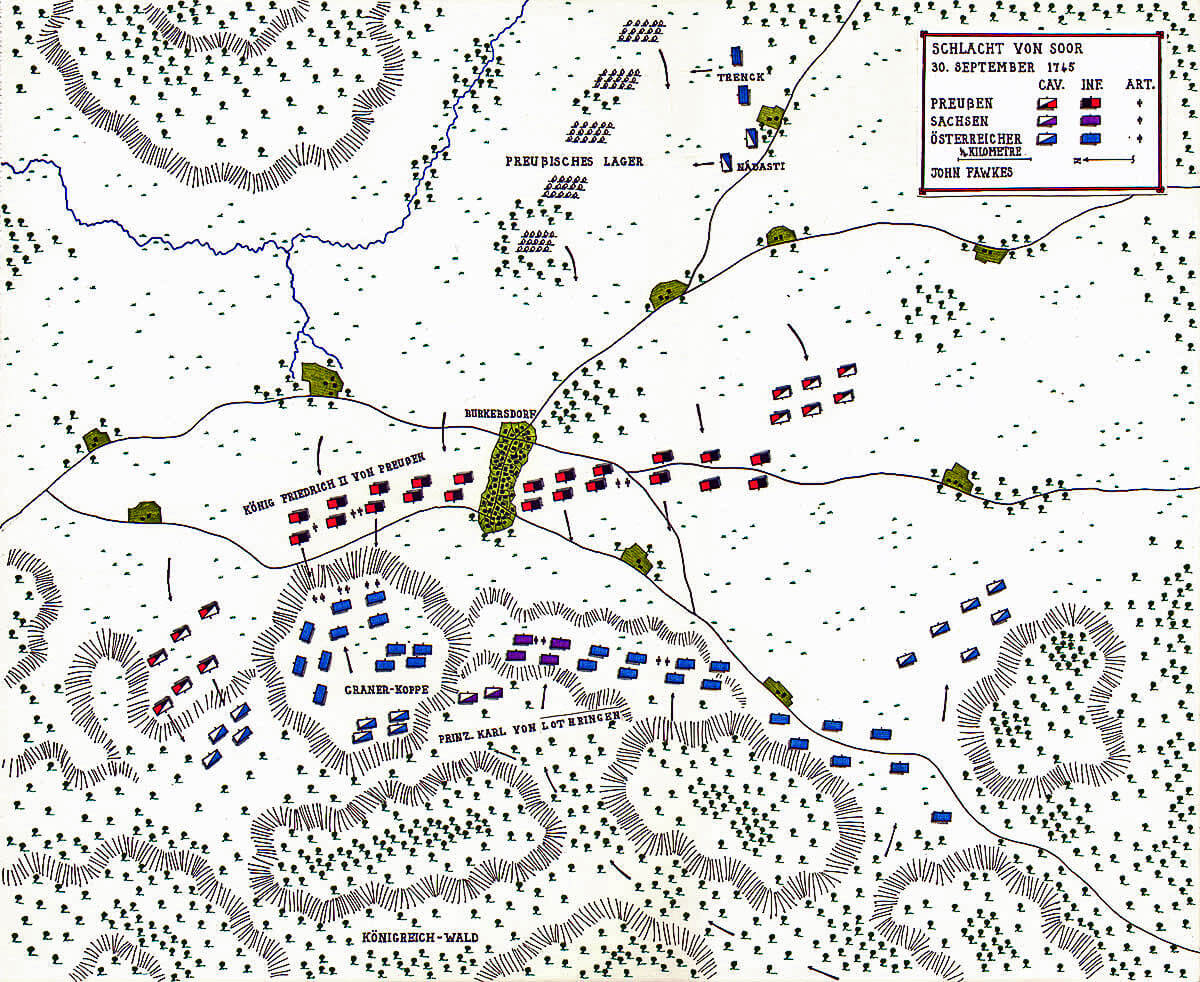 Map of the Battle of Soor 30th September 1745 in the Second Silesian War: map by John Fawkes