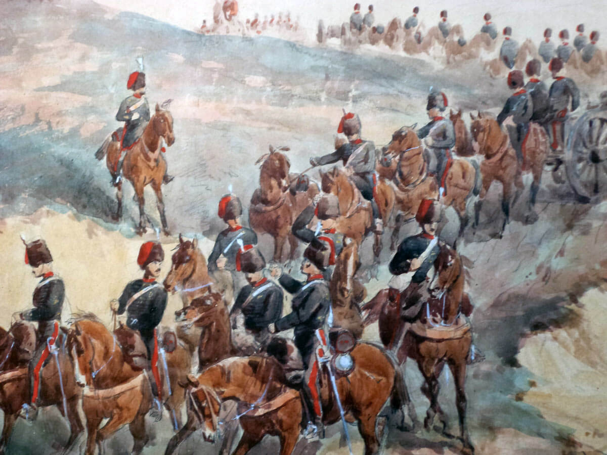Royal Artillery on the move: Battle of the Alma on 20th September 1854 during the Crimean War: picture by Orlando Norie