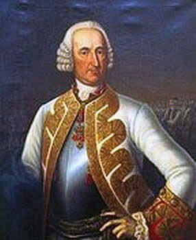 Field Marshall Maximilian von Browne, the commander of the Austro-Hungarian army at the Battle of Lobositz 1st October 1756 in the Seven Years War