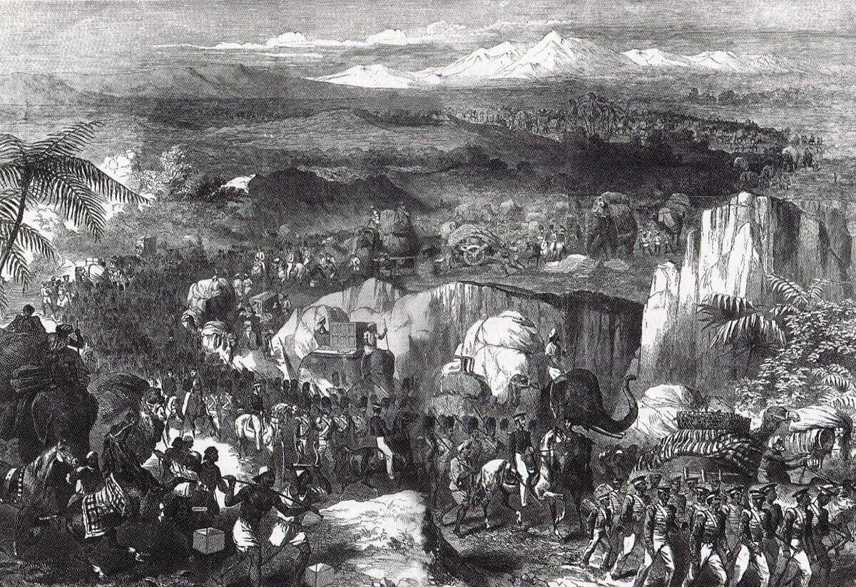 Army of the Sutlej on the march: Battle of Goojerat on 21st February 1849 during the Second Sikh War