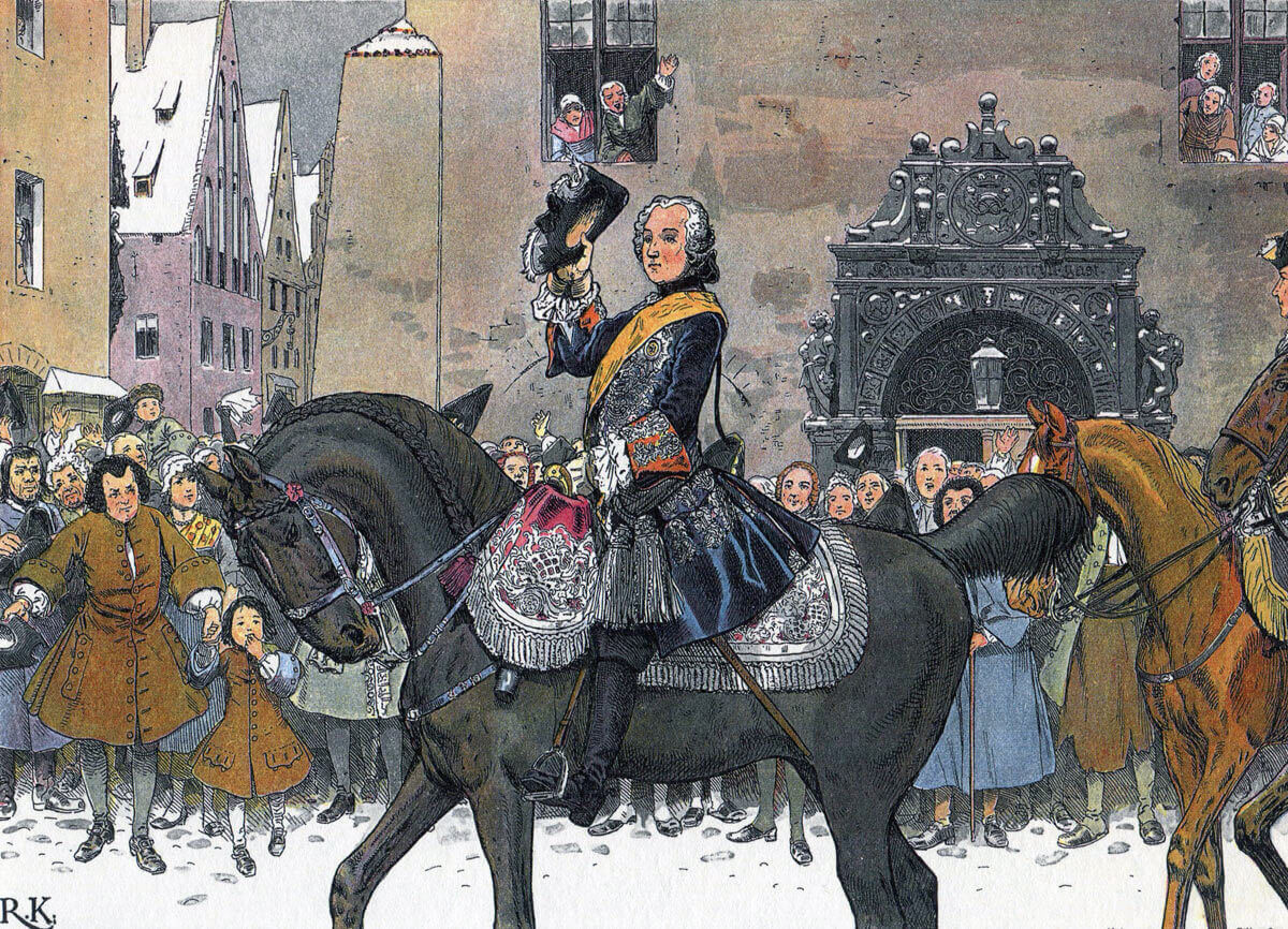 Frederick II King of Prussia enters Breslau, the capital city of Silesia after the Battle of Mollwitz fought on 10th April 1745 in the First Silesian War: picture by Richard Knötel