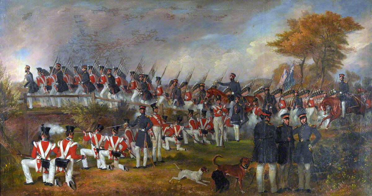 British Infantry Regiment on exercise: Battle of Aliwal on 28th January 1846 in the First Sikh War