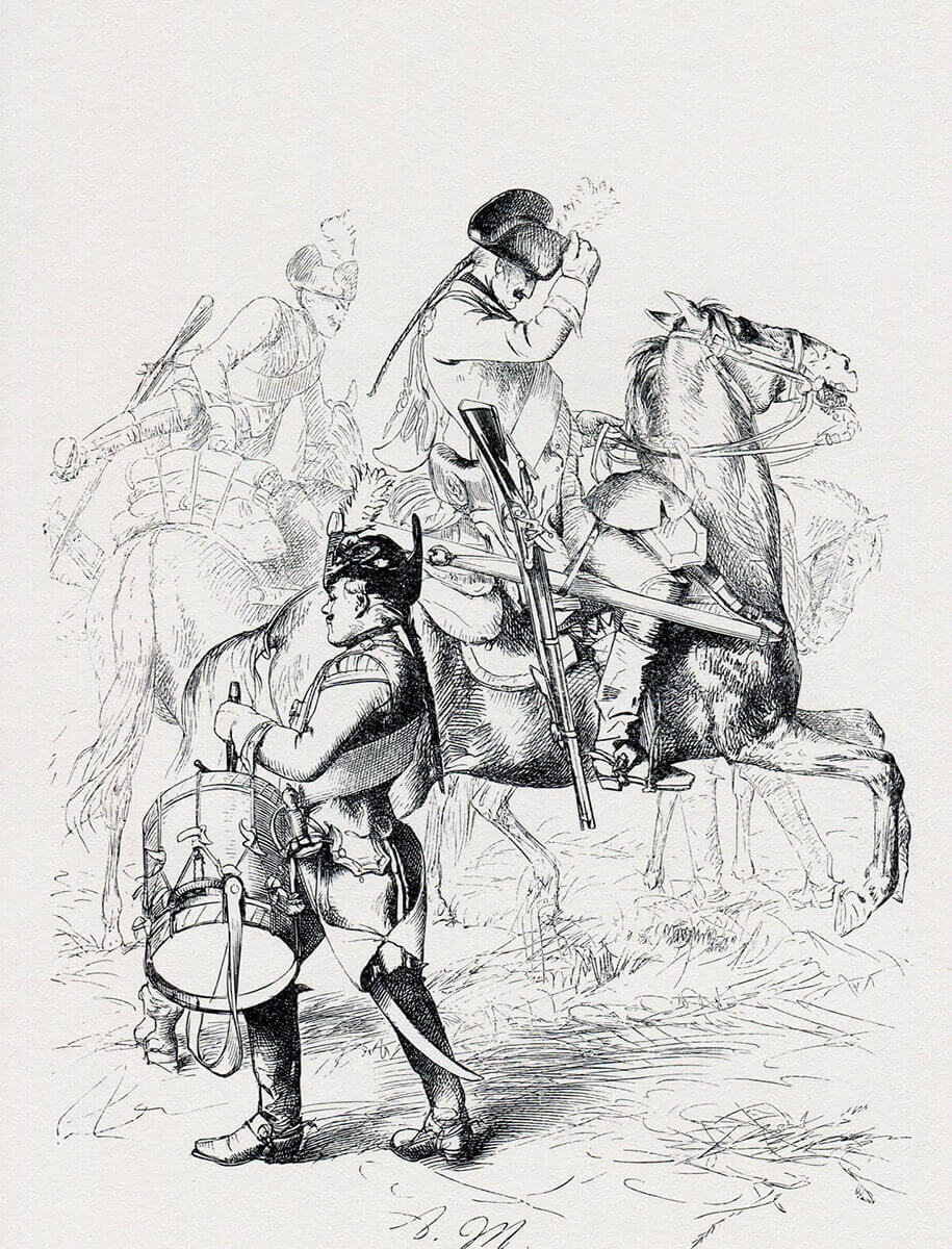 Prussian Dragoons: Battle of Hohenfriedberg 4th June 1745 in the Second Silesian War: picture by Adolph Menzel