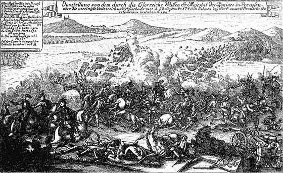 Battle of Soor 30th September 1745 in the Second Silesian War: a contemporary print