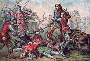 Capture of King John of France and his 14 year old son at the Battle of Poitiers on 19th September 1356 in the Hundred Years