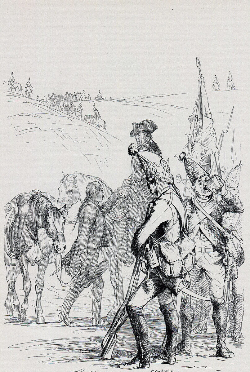 Prussian grenadiers: Battle of Kesselsdorf on 15th December 1747 in the Second Silesian War: picture by Adolph Menzel