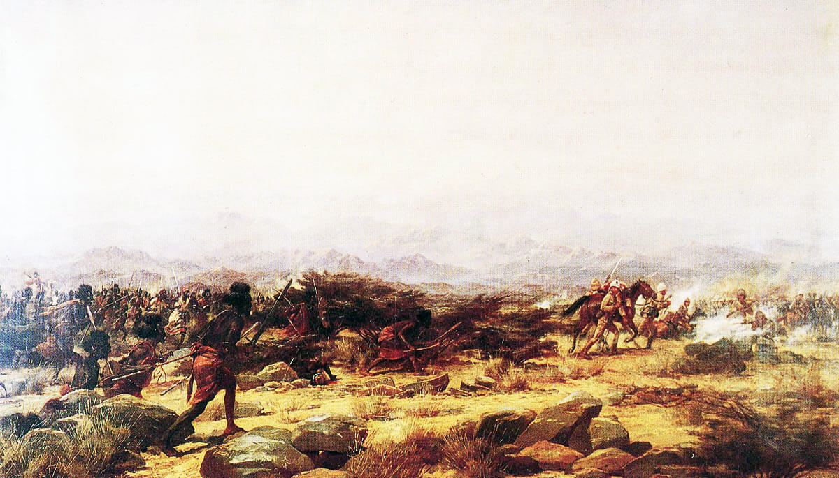 'An incident at the Battle of Tamai, Eastern Sudan, March 13, 1884': picture showing Lieutenant Tarling winning the VC by rescuing Private Morley of the Mounted Infantry: picture by Major Godfrey Douglas Giles