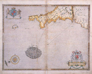 Spanish Armada charts published 1590: 1 Armada in the entrance to the Channel on 29th July 1588