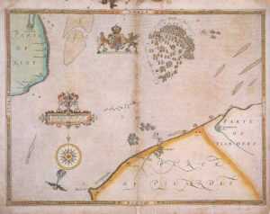 Spanish Armada charts published 1590: 10 English Fleet attacks the Armada at Gravelines on 8th August 1588