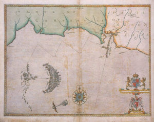 Spanish Armada charts published 1590: 2 Armada and English Fleet off Plymouth 30th and 31st July 1588