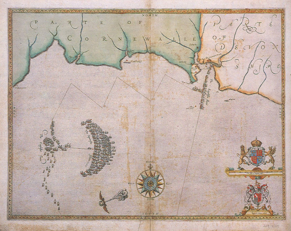 Spanish Armada charts published 1590: 2 Armada and English Fleet off  Plymouth 30th and 31st