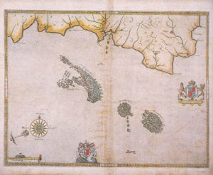 Spanish Armada charts published 1590: 3 English ships attack the Armada off Plymouth on 31st July 1588