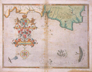 Spanish Armada charts published 1590: 4 English fleet pursues the Armada up the Channel, 31st July to 1st August 1588