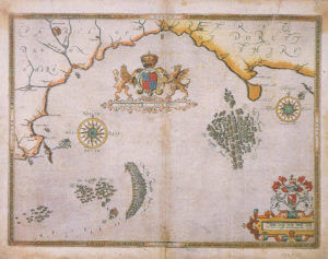 Spanish Armada charts published 1590: 5 Action between the English Fleet and the Armada off Portland Bill on 1st and 2nd August 1588