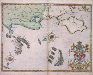 Spanish Armada charts published 1590: 6 Armada Charts 6 English ships attack the Armada between Portland Bill and the Isle of Wight on 2nd and 3rd August 1588
