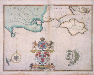 Spanish Armada charts published 1590: 7 English fleet attacks the Armada off the Isle of Wight on 4th August 1588