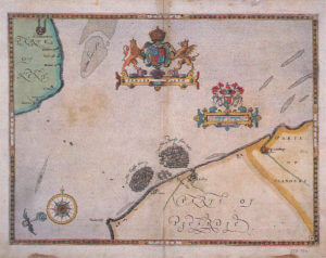 Spanish Armada charts published 1590: 9 Eight English fire ships attack the Armada on 7th August 1588