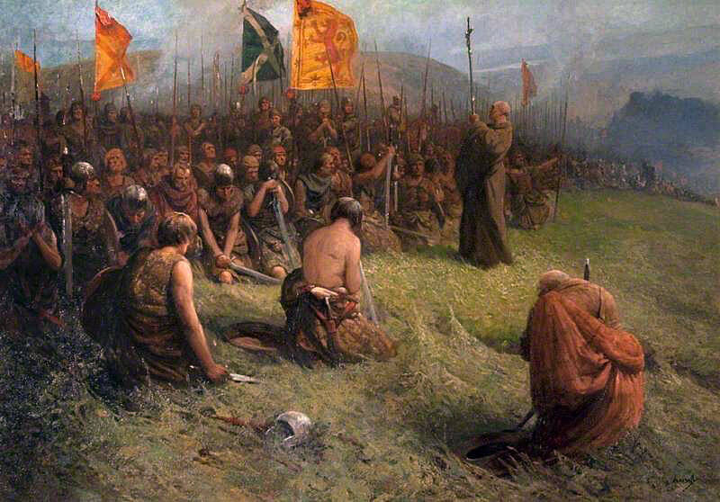Abbot of Inchaffray blesses the Scots soldiers before the Battle of Bannockburn on 23rd June 1314
