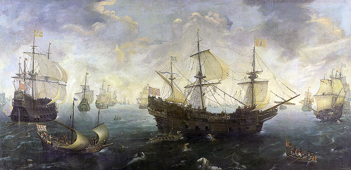 Spanish Armada off the English coast July 1588: picture by Cornelis Claesz Van Wieringen