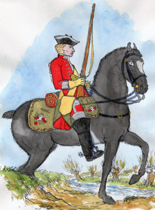 Kerr's 11th Regiment of Dragoons: Battle of Culloden 16th April 1746 in the Jacobite Rebellion: Mackenzie from Representation of Cloathing