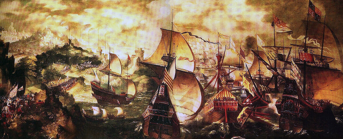Allegorical representation of the Spanish Armada, June to September 1588, showing Queen Elizabeth I and her army watching theaction off Portland Bill (the Queen was in London)