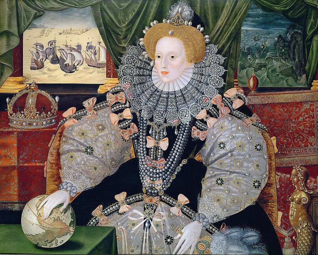"'Armada Portrait' of Elizabeth I, Queen of England: the rival fleets appear top left: Philip II of Spain planned to depose her, calling her the ""Heretic Queen"": Spanish Armada June to September 1588"