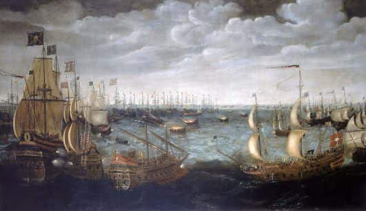 English fire ships advance on the Spanish Armada anchored offshore at Calais, before the crews set them ablaze: Spanish Armada June to September 1588