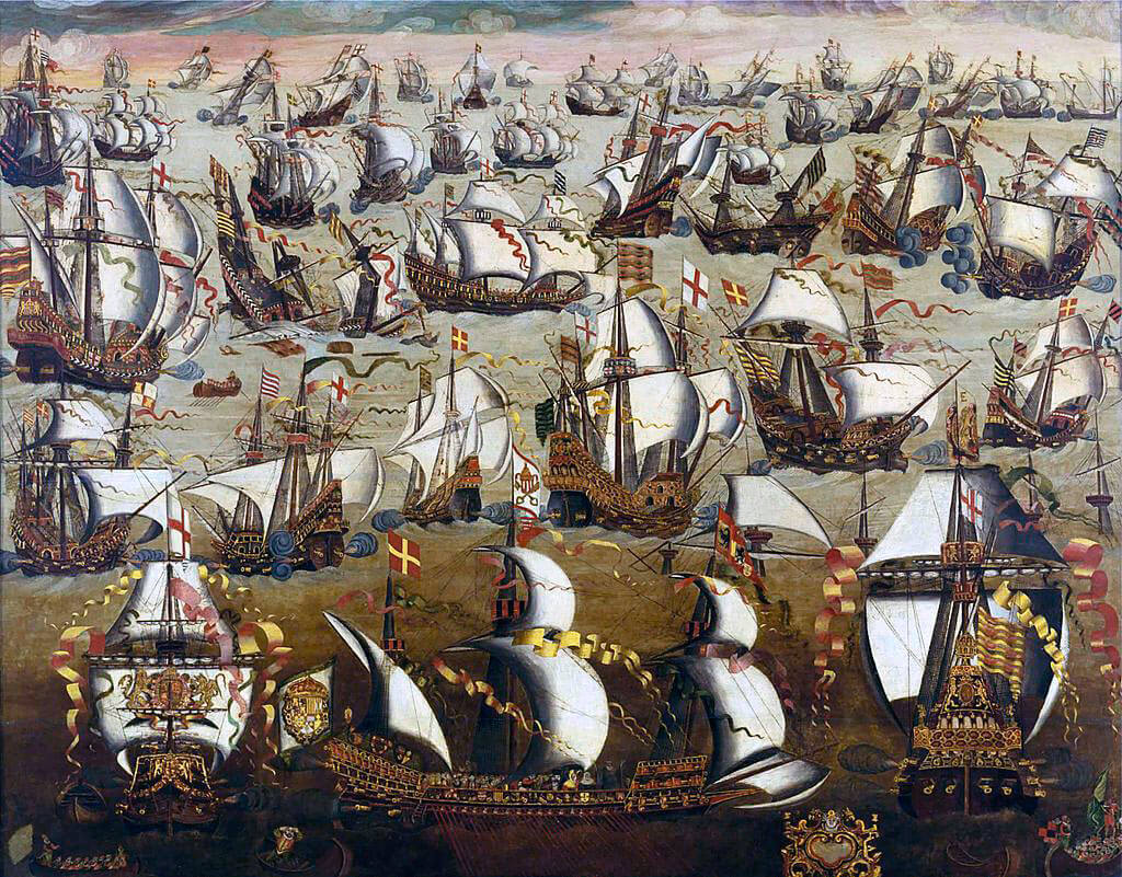 "The English Fleet gives battle to the Spanish Armada: A Spanish galeas occupies the foreground, an English ""race"" galleon to her left and right. English ships carry the red cross of St George on a white background: Spanish Armada June to September 1588"