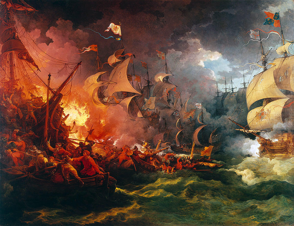 Battle of Gravelines: at which the English Fleet dispersed the Spanish Armada and forced it into the North Sea: Spanish Armada June to September 1588: picture by Philip James de Loutherbourg