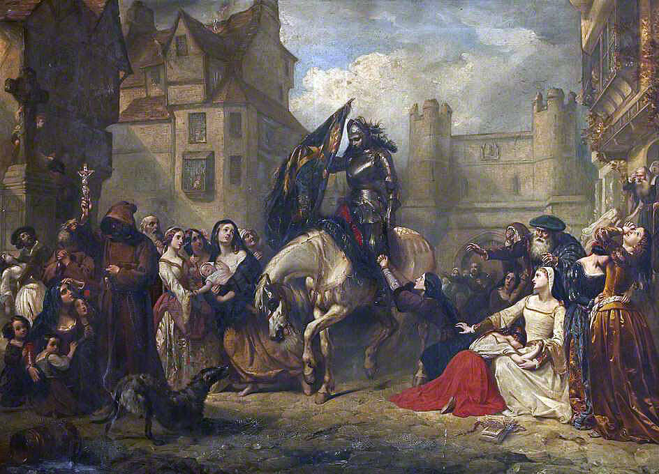 News of the Battle of Flodden on 9th September 1513 brought to Edinburgh: picture by Thomas Jones Barker