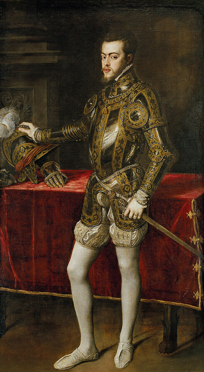 King Philip II of Spain, the architect of the Armada invasion of England in 1588: Spanish Armada June to September 1588