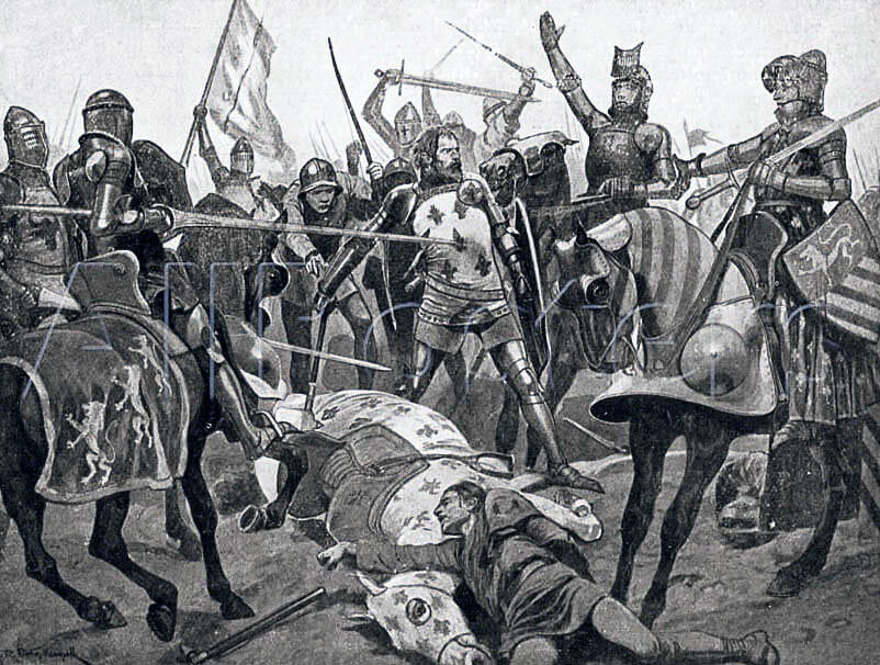 Capture of King John of France at the Battle of Poitiers on 19th September 1356 in the Hundred Years: picture by Richard Caton Woodville