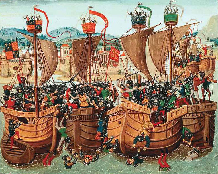 Battle of Sluys sea battle fought on 24th June 1340 in the Hundred Years War