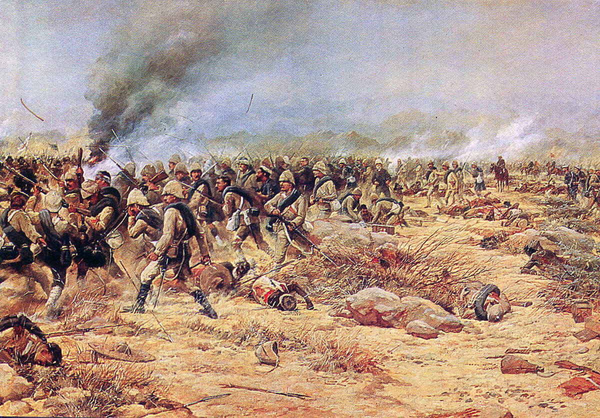 1st York and Lancaster and 1st Black Watch rallying for the counter-attack at the Battle of Tamai on 13th March 1884 in the Sudanese War: picture by Douglas Giles
