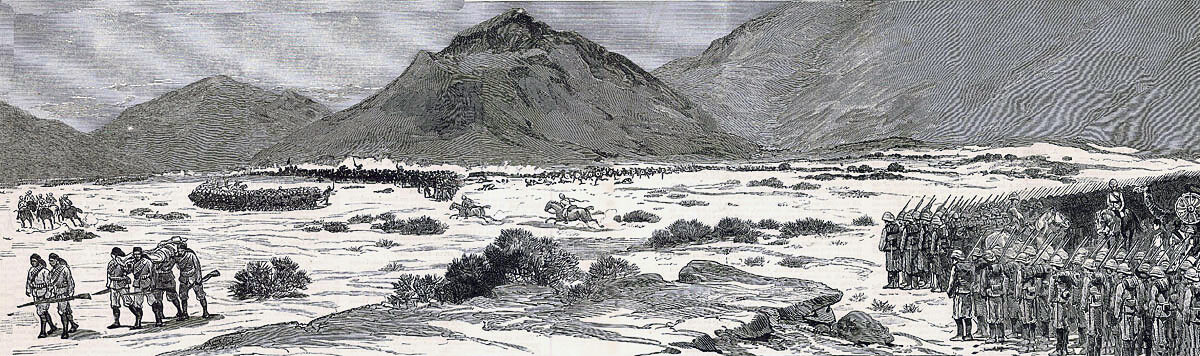 Two British Brigade Squares at the Battle of Tamai on 13th March 1884 in the Sudanese War: two newspaper correspondents are riding from the rear square to the leading square
