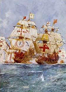 Armada, June to September 1588: Lord Howard in the Ark attacks San Martin, flagship of the Duke of Medina Sidonia. Both ships carry the red cross on the white background, the crusader symbol and the symbol of St George
