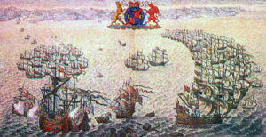 Contemporary illustration showing the Armada in crescent formation pursued down the Channel by the English Fleet of Lord Howard of Effingham: Spanish Armada June to September 1588