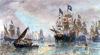 Spanish Armada leaving Ferroll: Spanish Armada June to September 1588