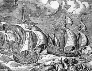Baltic Hulk or Urca like El Gran Grifin that sank on Fair Isle: print by Peter Brueghel: Spanish Armada June to September 1588
