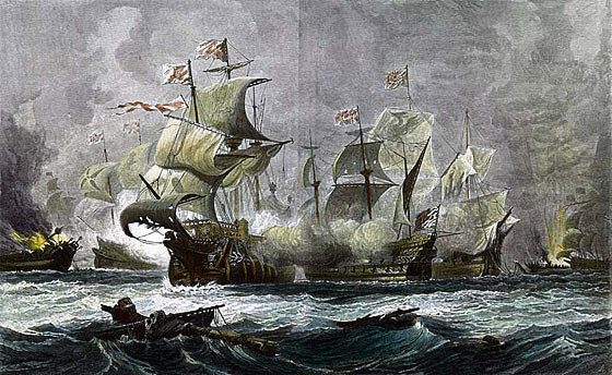Battle of Gravelines: Vanguard engages two Spanish galleons: Spanish Armada June to September 1588