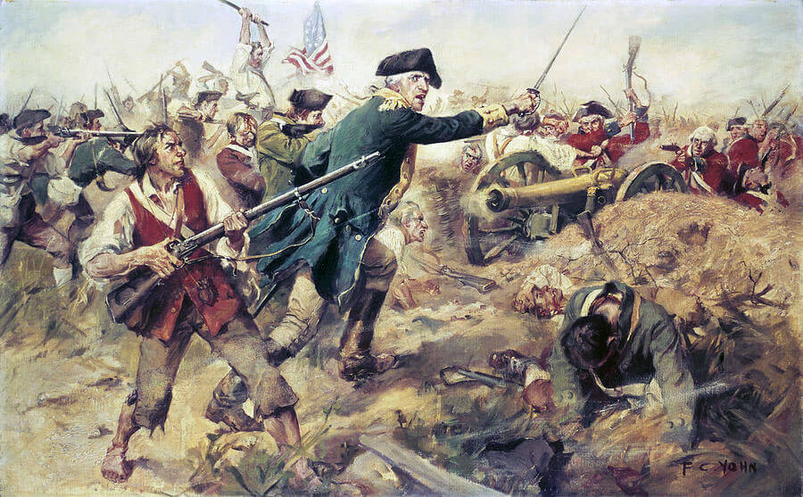 Brigadier-General John Stark at the Battle of Bennington on 16th August 1777 in the American Revolutionary War: picture by Frederick Coffay Yohn