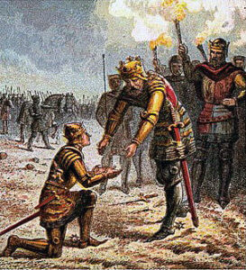 King Edward III greets the Black Prince after the Battle of Creçy on 26th August 1346 in the Hundred Years War