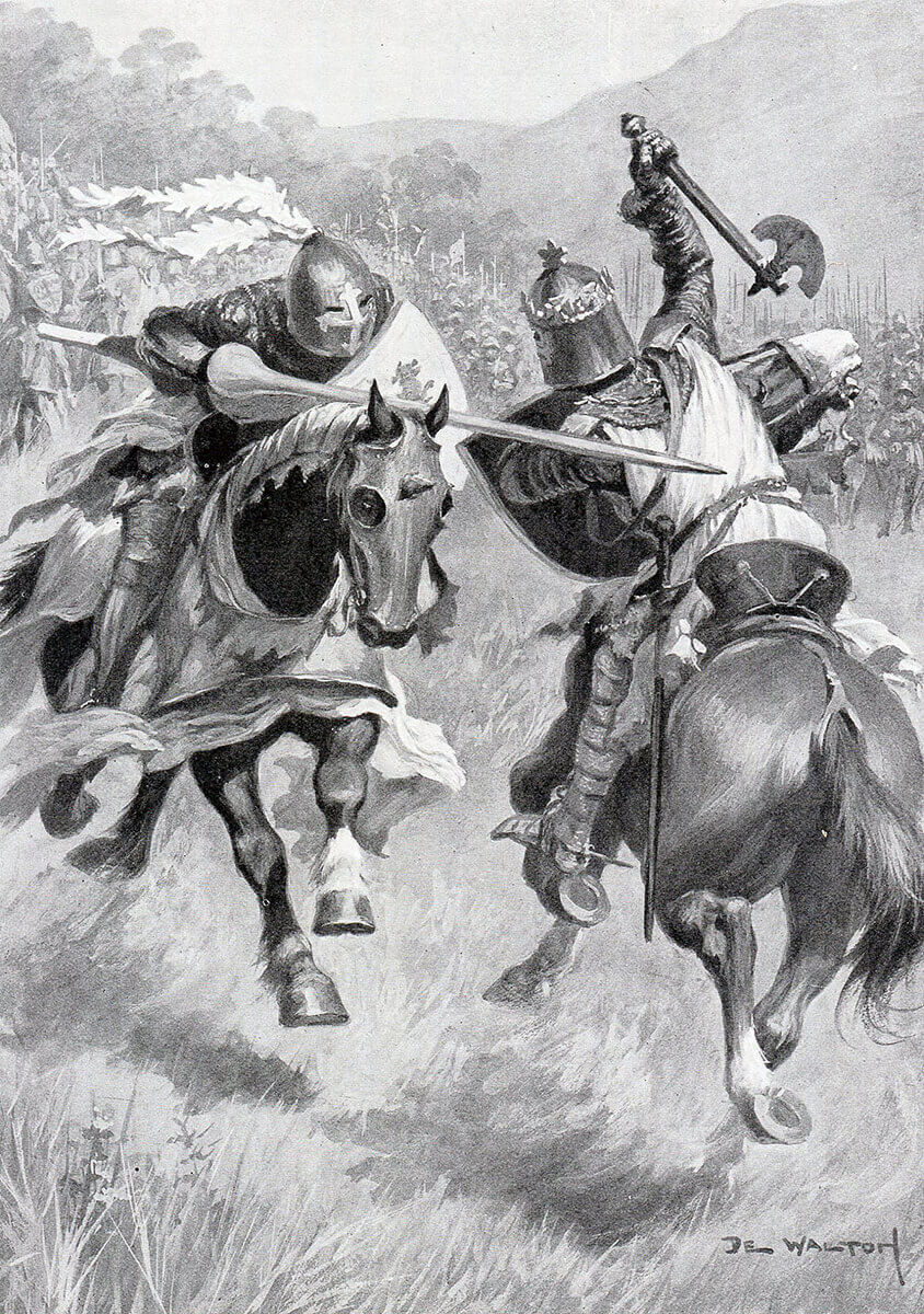 Robert de Bruce strikes and kills Sir Henry de Bohun with his axe in single combat before the Battle of Bannockburn on 23rd June 1314: picture by Ambrose de Walton