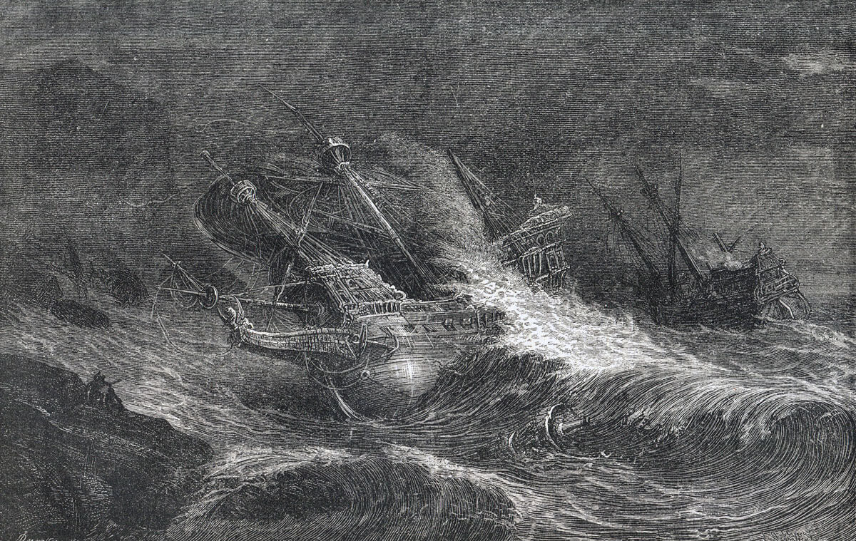 Santa Maria de la Rosa foundering in Blasket Cove off the South West coast of Ireland. Only one member of the crew survived a sixteen year old Italian boy name Giovanni. Giovanni was interrogated by English officials and then hanged: Spanish Armada June to September 1588
